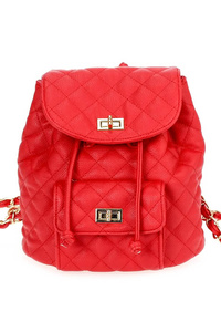 Solid Quilted Flap Over Turn Lock Front Pocket Drawstring Backpack