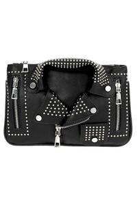 Rhinestone And Zipper Jacket Clutch With Strap