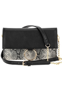 Snake Skin And Solid Flap Over Clutch With Strap