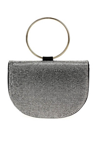 Rhinestones Half Moon Flap over Clutch With Ring Handle