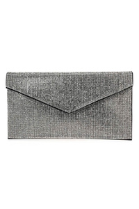 Rhinestones Envelope Flap Over Clutch With Strap