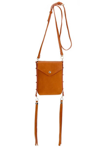 Solid Long Tassels Flap Over Messenger Bag With Shoulder Strap