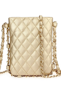 Quilted Magnetic Closure Messenger Bag With Chain Strap