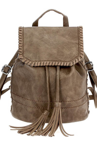 Tassel Draw String Flap Over Backpack