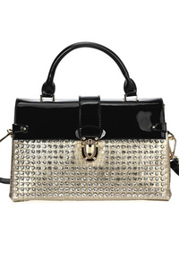 Rhinestone And Solid Trim Flap Over Clip On Satchel Bag