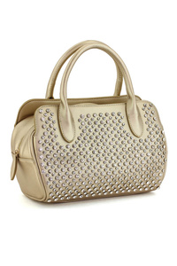 Front All Over Rhinestones Doulbe Handle Satchel Bag With Strap