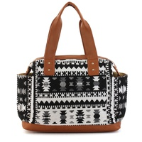 Bohemian Woven And Solid Trimmed Satchel Bag