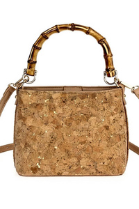 Cork Bamboo Handle Satchel Bag With Strap