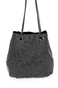 Rhinestone Mesh Bucket Style Crossbody Bag