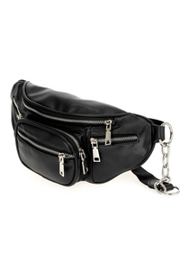 Solid Multi Pockets Fanny Pack With Chain Strap