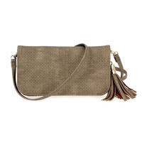 Solid Textured With Tassel Clap Over Wallet & Cellphone Case