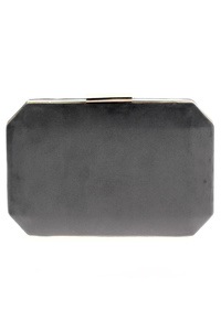 Solid Suede Gold Chase Clip On Closure Clutch With Chain Strap