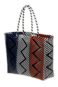 Multi Colors Woven Checked Shopper Bag