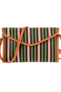 Stripe Flap Over Clutch With Strap