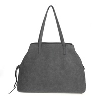 Solid Triple Compartment Double Handle Tote