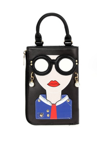 Girl Face With Glasses Crossbody With Chain Strap