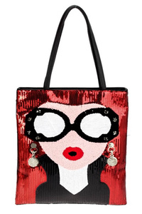 Sequins Girl With Eye Glass Tote Bag