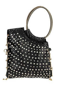 Solid Rhinestones With Chain Tote And Flap Over Messenger Bag