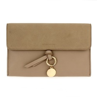 Solid Suede And Faux Leather Flap Over Clutch