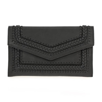 Solid Stitched Flap Over Clutch With Shoulder Strap