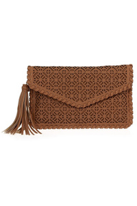 Solid Laser Cut Envelope Clutch With Tassels
