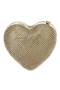 Crystal Rhinestones Heart Framed Clutch With Chain Strap
