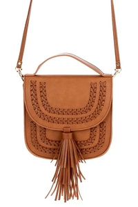 Solid Whip Stitched With Tassel With Flap Over Messenger Bag