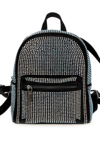 All Over Rhinestone Accented Front Zipper Backpack