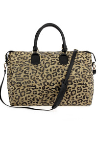 Leopard Print Duffel Over Night Bag With Shoulder Strap