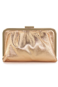 Metal Framed Metallic Clutch With Chain Strap