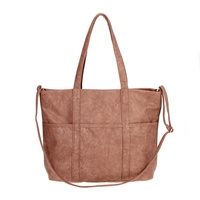 Solid Front Pockets Tote With Shoulder Strap