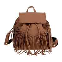 Fringe Drawstring Flap Over Backpack With Single Handle
