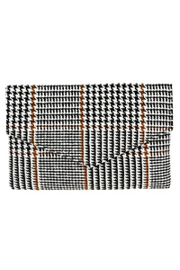 Houndstooth Print Envelope Clutch