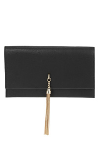 Flap Over Chain Fringe Clutch With Chain Strap