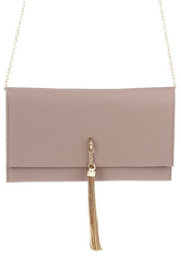 Solid And Chain Centered Flap Over Clutch With Chain Strap