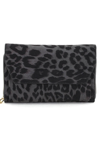 Leopard Print Zip Around Clutch With Shoulder Strap