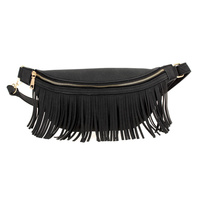 Solid Front Tassel Accented Fanny Pack