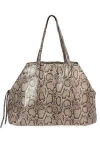 Snake Skin Printed Tote Double Slim Handle Bag