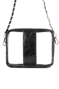 Snake Skin Printed Trim Clear Bag With Strap