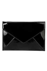 Solid Flat Envelope Patent Clutch With Chain Strap