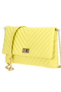Solid Quilted Chevron Shape Flap Over Clutch With Strap