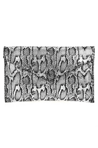 Metallic Snake Skin Flap Over Envelope Clutch With Chain Strap