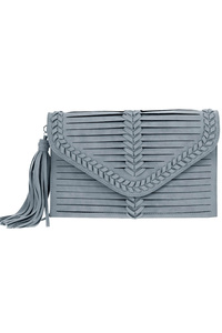Solid Stitched And Cut Flap Over Fringe Clutch With Strap