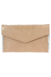 Solid Crocodile Textured Flap Over Magnetic Clutch With Chain Strap