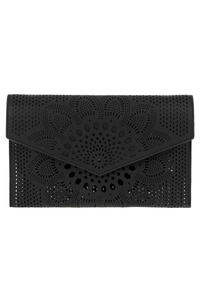 Solid Laser Cut Flap Over Clutch With China Strap