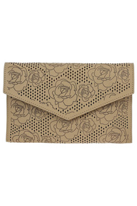 Flower Laser Cut Flap Over Envelop Clutch