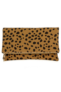 Leopard Print Flap Over Clutch With Strap