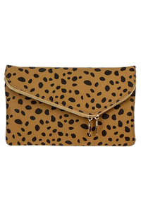 Leopard Print Flap Over Envelope Clutch With Strap