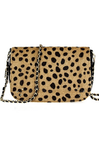 Leopard Synthetic Fur Design Flap Over Messenger Bag