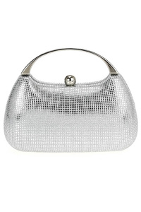 Solid Textured Metal Single Handle With Clip On Evening Bag